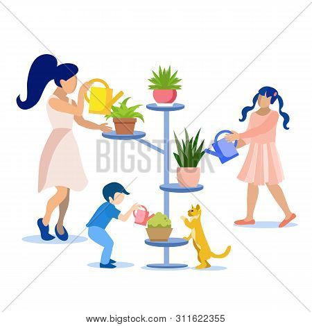 Flat Cartoon Family Taking Care For Houseplants Together. Mother With Son And Daughter Watering Flow