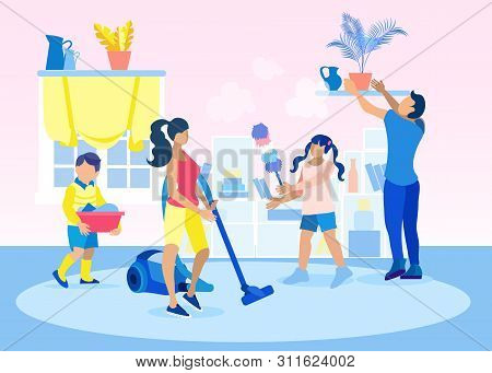 Scene With Family Doing Housework Flat Cartoon. Kids Helping Parents With Home Cleaning, Loading Lau