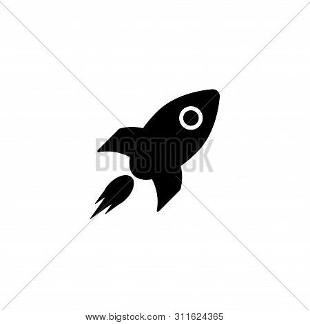 Rocket Icon. Sign Flying Spaceship. Isolated Symbol Spacecraft On White Background. Vector Illustrat
