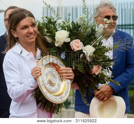 Bucharest, Romania - July 15, 2019: Wimbledon Womens Singles Tennis Champion Simona Halep Poses With