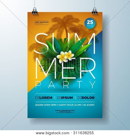 Vector Summer Party Flyer Design With Flower And Tropical Palm Leaves On Blue And Yellow Background.