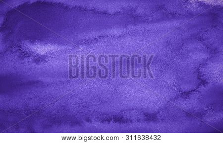 Rich Purple Watercolor Background With Bizarre Natural Divorces And Stripes. Abstract  Frame With Co