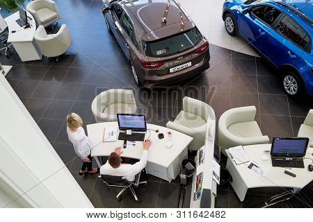 Kirov, Russia - March 07, 2019: Manager In Showroom Of Dealership Kia In Kirov In 2019