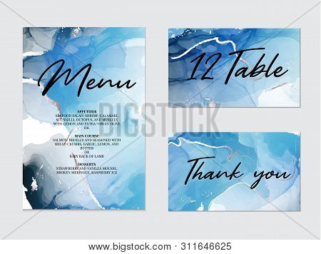 Mixture Of Acrylic Paints For Wedding Decoration, Meny, Table, Thank You Card. Liquid Marble Texture