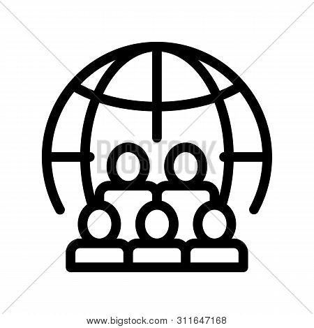 People Planet Earth Problem Vector Thin Line Icon. Overpopulation Surplus Population Environmental P