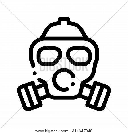 Safe Life Gaz Dirty Air Mask Vector Thin Line Icon. Air Environmental Pollution, Chemical, Radiological Contamination And Co2 Linear Pictogram. Ecosystem Contour Illustration poster