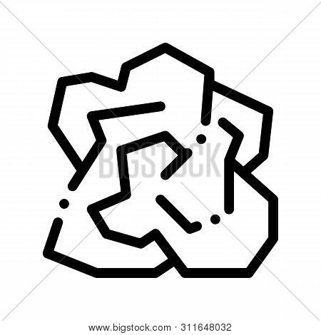 Crumpled Piece Of Paper Vector Thin Line Icon. Ecological Fatal Down Environmental Pollution Impact