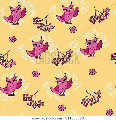 Cute Autumn Seamless Pattern With Owls And Rowan.