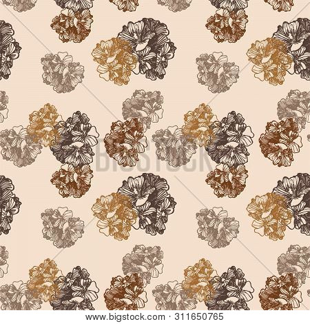 Vector Seamless Pattern With Hand Drawn Mallow Flowers, Design For Textile, Wrapping Paper, Web, Bac
