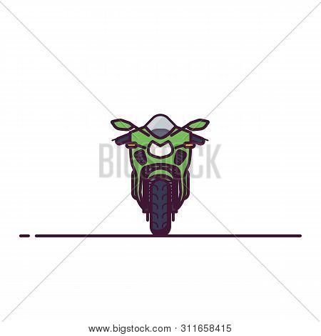 Front View Of Modern Super Sport Motobike. Line Style Vector Illustration. Moto Bike Flat Style Bann