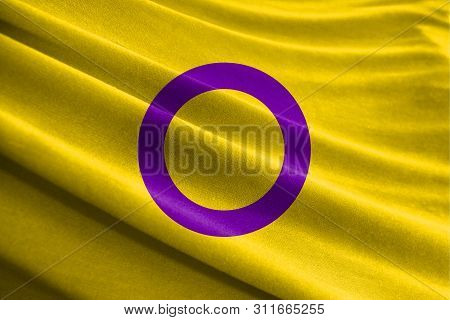 Realistic Flag Of Intersex Pride On The Wavy Surface Of Fabric