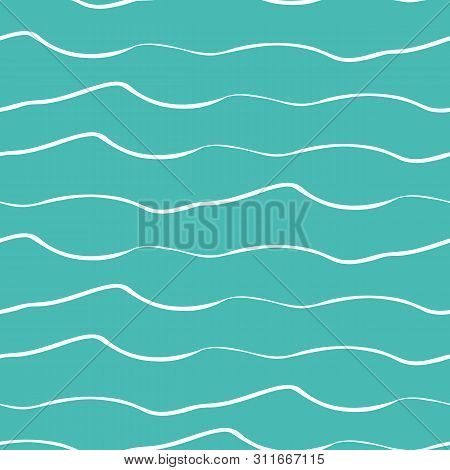 Abstract Hand Drawn Doodle Sea Waves. Seamless Geometric Vector Pattern On Ocean Blue Background. Gr