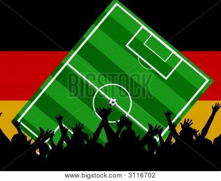 illustration of a soccerfield and fans with the flag of germany - european championship 2008 poster