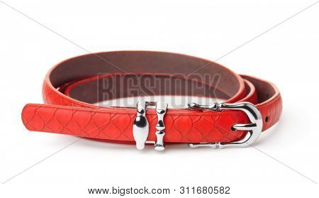 Red women thin belt isolated on white