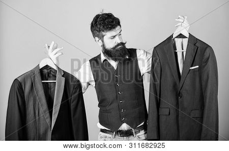 Designing Made To Measure Suit. Custom Made Suit. Man Bearded Fashion Couturier Tailor. Elegant Cust