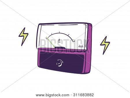 Analog Ammeter Hand Drawn On White Background. Instrument Used For Measuring Electric Current. Equip