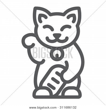 Maneki Neko Line Icon, Asian And Animal, Japanese Cat Sign, Vector Graphics, A Linear Pattern On A W