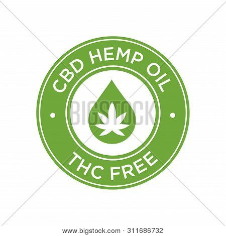 Cbd (cannabidiol) Hemp Oil. Thc Free. Round Symbol.