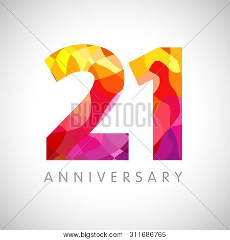 21 St Anniversary Numbers. 21 Years Old Multicolored Logotype. Age Congrats, Congratulation Art Idea