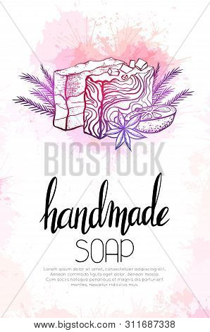 Vertical Banner With Neon Illustration Of Handmade Soaps With Orange, Juniper Twigs, Star Anise And