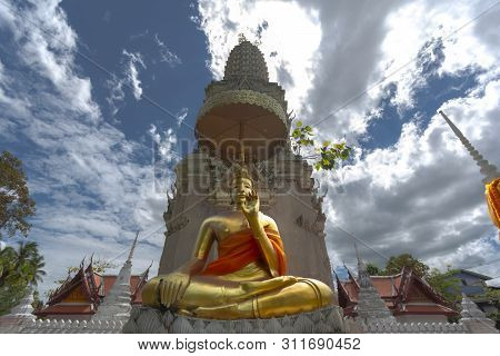 Beautiful Golden Buddha Statue At Wat Yai-suwannaram. This Place Is An Important Old Temple In Phetc