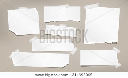 White Grainy Ripped, Torn Note, Notebook Paper Strips, Stuck With Sticky Tape On Brown Background. V