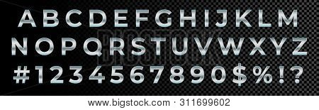 Silver Font Numbers And Letters Alphabet Typography. Vector Silver Metallic Font Type, 3d Metal Chro