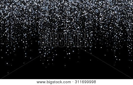 Silver Confetti Falling, Glitter Snow Shine And Glow On Black Vector Background. Carnival Birthday P
