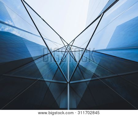 Architecture Detail Glass Facade Modern Building Perspective Futuristic Background