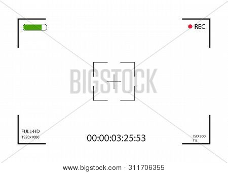 Camera Viewfinder. Focusing Screen Of The Camera. Viewfinder Camera Recording. Vector Template For D