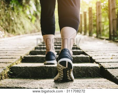 Woman Walk Step Up On Stairs With Sport Shoe Trail Track Exercise Outdoor