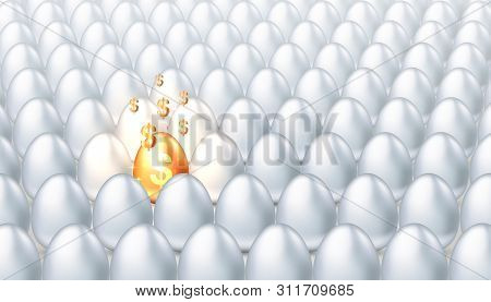 Golden Egg With Golden Dollar Symbols Among Ordinary White Eggs, Concept Of Forecasting Investment F