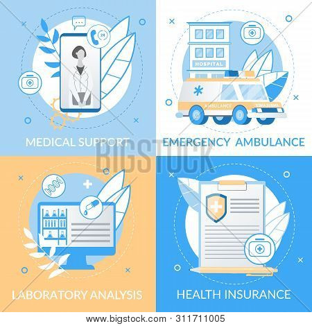 Informational Flyer Medical Support Lettering. Banner  Inscription Emergency Ambulance, Laboratory Analysis, Health Insurance. Promotion and Provision Services to Customers Using Mobile. poster