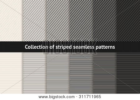 Striped Patterns Collection. Vector Geometric Seamless Textures With Diagonal And Horizontal Stripes
