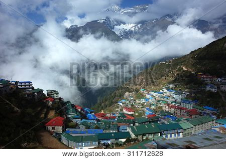 Remote Namche Bazaar village in Himalayas mountains, Sagarmatha national park, Khumbu valley, Himalayas
