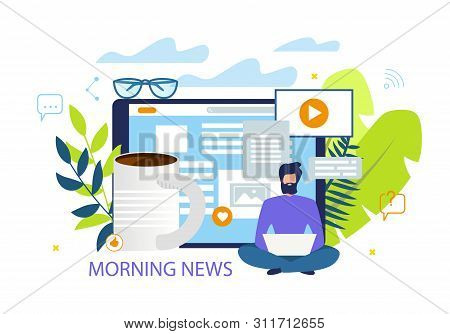 Bright Flyer Inscription Morning News Cartoon. Flat Banner Editor Internet Edition Works Without Res