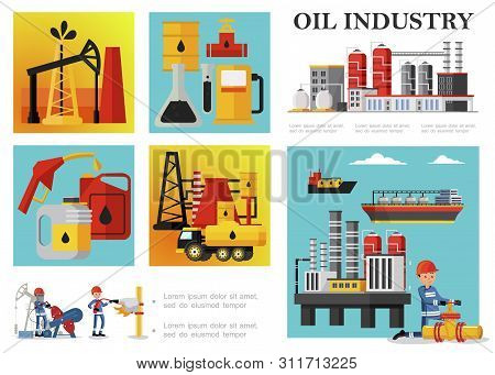Flat Petroleum Industry Composition With Petrochemical Plant Drilling Rig Derrick Fuel Truck Tankers