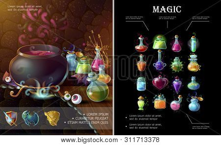 Cartoon Game Elements Composition With Medieval Weapons Witch Cauldron Bottles And Flasks Of Differe