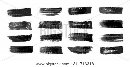 Painted Grunge Stripes Set. Realistic Black Labels, Background, Paint Texture. Brush Strokes Vector.