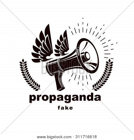 Loudspeaker Winged Vector Logo Isolated On White. Misleading And Brainwashing Information, Hoax And