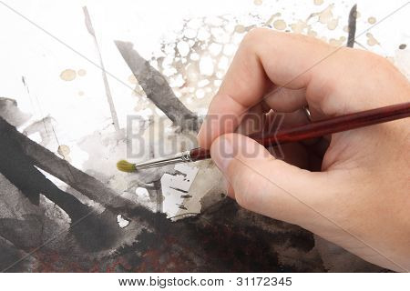 Close Up Of Man Hand Painting Abstract Picrure
