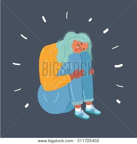 Cartoon Vector Illustration Of Sad Teenager Girl Expression Offended Gesture. Human Female Character