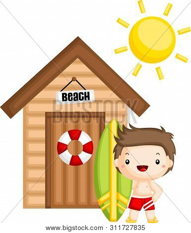 A Vector Of A Surfer Standing Outside A Beach House