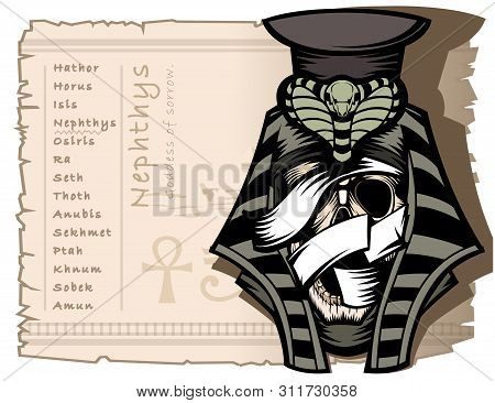 Nephthys Is The Goddess Of Sadness In Ancient Egyptian Mythology. Banner Template, Also A Theme For