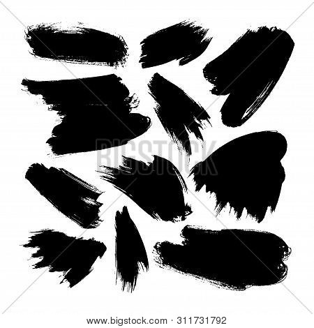 Ink Brush Smears Vector Illustrations Set. Black Paint Brushstrokes, Smears Isolated On White Backgr