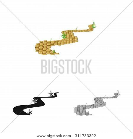 Vector Design Of Road And Scenery Sign. Collection Of Road And Footpath Stock Vector Illustration.