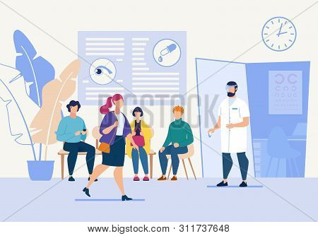 Bright Flyer Oculist Eye Treatment Cartoon Flat. Doctor Invites Patients To Go To Office For Examina