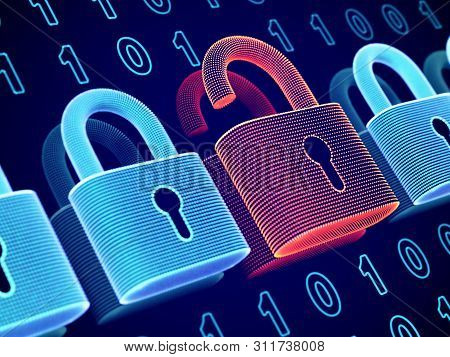 Data Security And Privacy Concept: Opened Padlock On Binary Code Background. Visualization Of Person