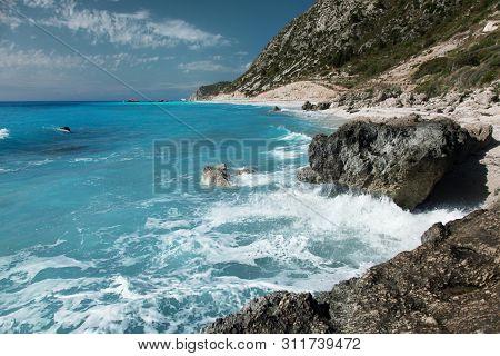 Rocks on Avali beach, Lefkada island, Greece. Beautiful turquoise sea on the island of Lefkada in Greece