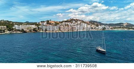 Waterside Aerial Photo Of Santa Ponsa Small Touristic Hillside Popular Resort Town In The South West